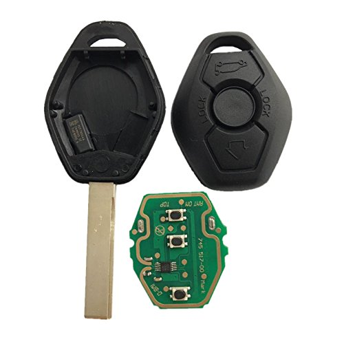 Dudely New Uncut Chip Chip ID44 315MHz 433MHz Keyless Entry Remote Control Car Key Replacement for BMW LX8 FZV Z4 X3 X5 E46 Series 3 5 6 7 Z3(Include Electronic,Battery and (Bmw Replacement Key)