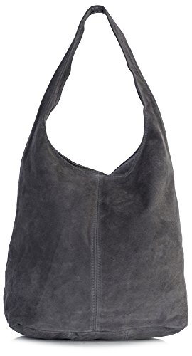 (LiaTalia Womens Large Italian Suede Leather Single Shoulder Strap Hobo Slouch Bag with Storage Bag - Shay [Dark)