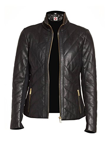 (Takitop Nyx Black Quilted Classic Designer Real Leather Jacket Women Missy Plus Size)