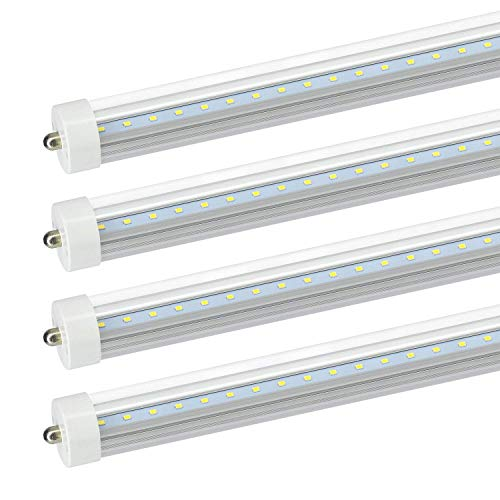 JESLED 8Ft LED Light Bulbs - 36W(75W Equivalent), Dual-End Powered, Ballast Bypass, 5000K Daylight, Clear Cover, 3960Lumens, T8 T10 T12 Fluorescent Tube Replacement(4-Pack)