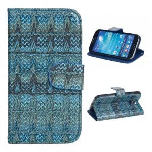 PU Leather and Plastic Protective Case with Woven Pattern for Samsung S4 i9500 Blue