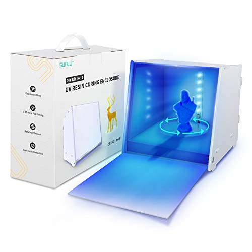 UV Resin Curing Light Box for LCD SLA DLP 3D Resin Printer Model, 405nm UV Resin Curing Box with Driven Turntable、Time…