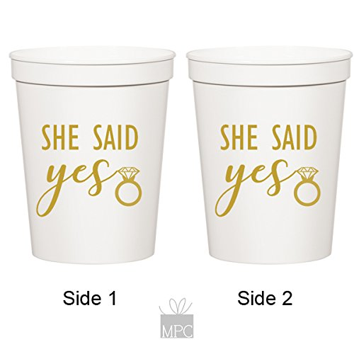 She Said Yes, White Stadium Plastic Cups - Wedding or Bachelorette (10 cups)