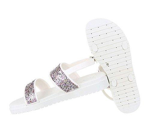 Damen Sandalen Schuhe Strandschuhe Sommerschuhe Leichte Silber