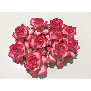 20 pcs Big rose reddish-pink Mulberry Paper Flower 40 mm scrapbooking wedding doll house supplies card by' Thai decorated. 104
