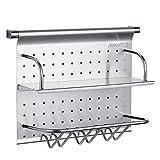 Kitchen Shelf Wall Mount Sticky Board Kitchen Knife Pendant Stainless Steel Multi-Function, Double Drain 430mm