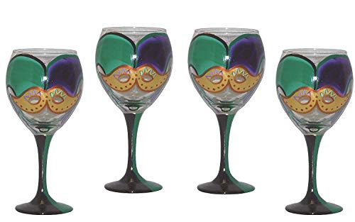 Set of 4 Balloon Wine Glasses in Mardi Gras Design in Traditional Mardi Gras Colors. Hand Painted.