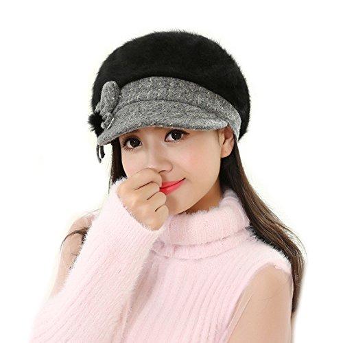 [EKIMI Women Lady Fashion Winter Warm Crochet Knitted Hat (Black)] (Hip Hop Felt Hat With Feather)