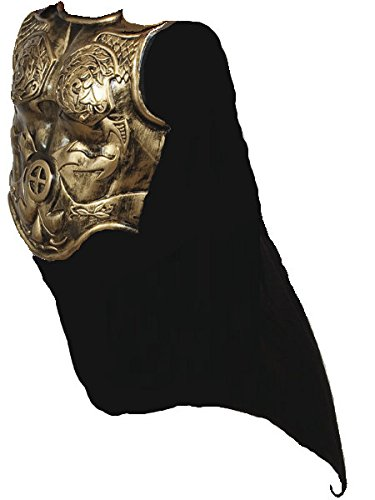 [Heavy Plastic Antiqued Gold Roman Armor Chestplate Costume with Cape] (Trojan Halloween Costumes)
