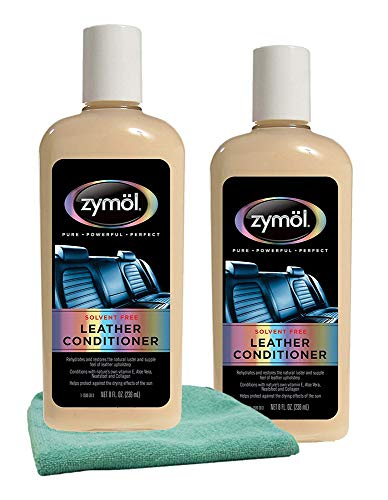 Zymol Leather Conditioner (8 oz.) Bundle with Microfiber Cloth (3 Items)
