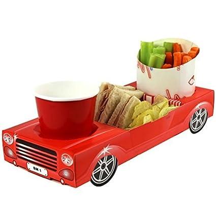 x30 descapotable rojo - utensilios para comer comida de coche deportivo bandejas con cremallera para almuerzo