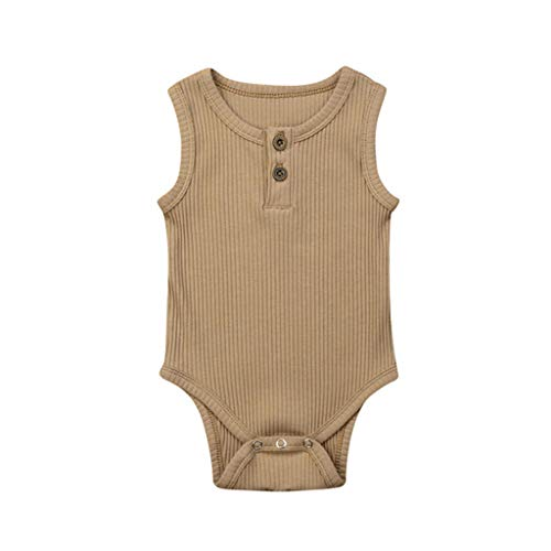 - Shusuen Newborn Baby Boys Girls Romper Sleeveless Outfit Summer Button Casual Clothes Bodysuit