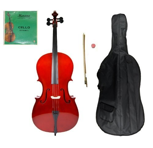 Grace 3/4 Size Cello for Beginners, Students with Bag and Bow, Free Rosin and Extra Set of Merano Brand Strings for Replacement - Bass Sets Cello