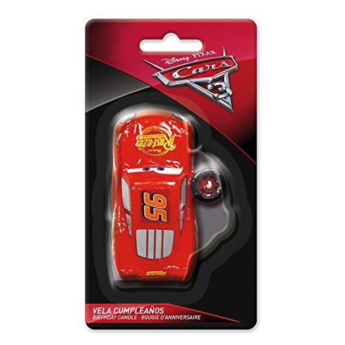 dekora 346053 Vela de Cumpleaños de Rayo Mcqueen de Disney Pixar Cars, Cera, Multicolor, 3,5 x 8,5 cm
