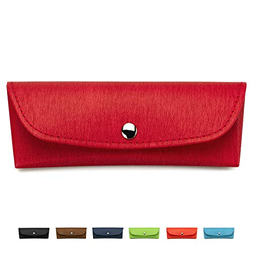 Pouch Velvet Padded - Portable Eyeglasses Case, Semi-Hard Vegan Leather Glasses Carrying Case Eyewear Pouch with Snap Button Closure (Red)