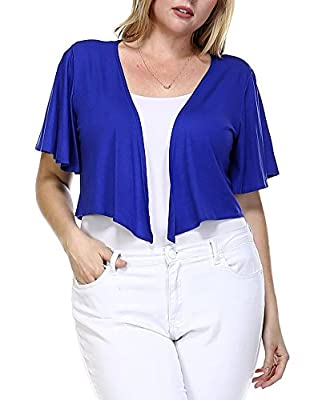 Modern Kiwi Women's Plus Size Cascading Short Sleeve Bolero Cardigan