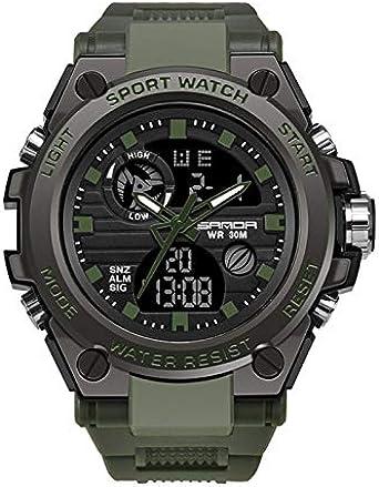 SANDA - Reloj digital analógico para hombre, deportivo, con alarma, cronómetro, retroiluminación, calendario, cronógrafo