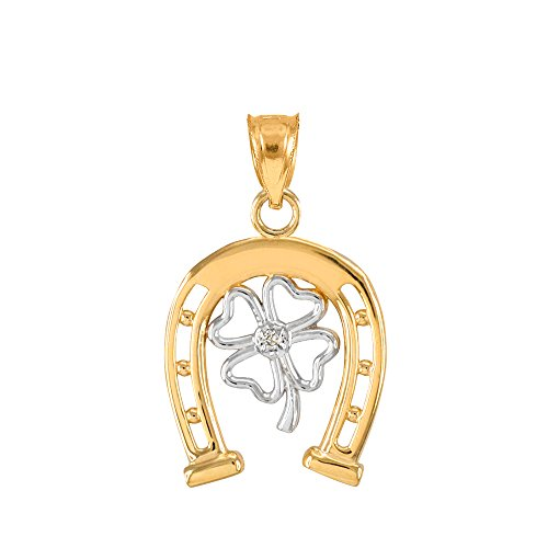 Diamond Accent Clover Pendant - 14k Two-Tone Gold Lucky Horseshoe with Irish 4-Leaf Clover Diamond Pendant