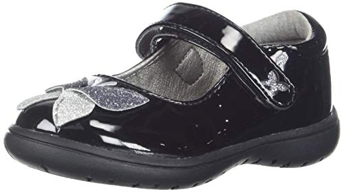 - NINA Girls' Alysha Mary Jane Flat, Black Patent, 6 Medium US Toddler