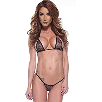 524a6167d7 Leopard Mesh Sexy Micro G-String Thong Bikini 2 Piece Animal Print See  Through