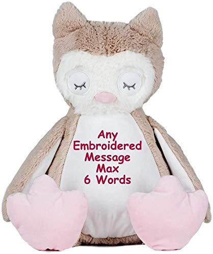 Personalised Teddy Bear Owl Newborn Baby Shower Flower Girl Bridesmaid Pageboy Wedding Birthday Memory Christening Embroidered Gift EASY TO CUSTOMIZE