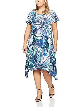 My Size Women's Plus Size Sandy Beach Palm Dress, Blue, Small
