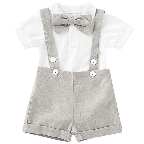 Baby Boy Clothes Gentleman Bowtie Romper and Overalls Suspenders Pants Wedding Tuxedo Outfits(Grey,12-18m)]()