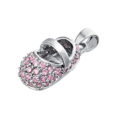 Baby Shoe 925 Silver Pendant Simulated Pink Topaz CZ