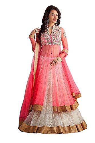 VKARAN Women's net Salwat Suit (SL001_ Pink_ Free)