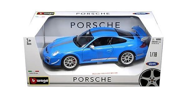 Amazon Com Porsche 911 Gt3 Rs 4 0 Blue 1 18 By Bburago 11036 By Porsche Toys Games