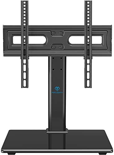 PERLESMITH Universal TV Stand Table Top TV Base for 32 to 55 inch LCD LED OLED 4K Plasma Flat Screen TVs – Height Adjustable TV Mount Stand with Tempered Glass Base, VESA 400x400mm, Holds up to 88lbs