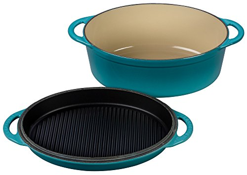 Le Creuset Cast Iron Oval Oven with Reversible Grill Pan Lid, 4 3/4 quart, Caribbean
