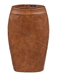 Zeagoo Basic Faux Leather Bodycon High Waisted Pencil Skirt(Black,Camel)