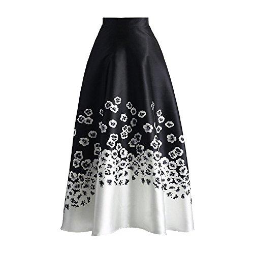 [해외]에펠 여자 꽃 프린트 칼라 블럭 하이 웨스트 A 라인 스윙 맥시 스커트 드레스/Eiffel Women`s Flower Print Colorblock High Waist A-Line Swing Maxi Skirt Dress