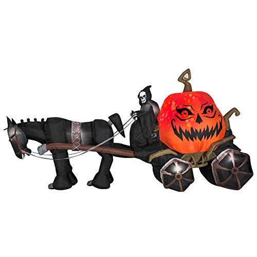 oldzon Inflatable 7' Projection Airblown Fire & Ice Grim Reaper and Carriage Halloween Yard Decoration with Ebook