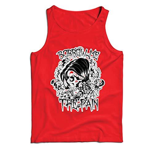 lepni.me Men's Tank Top Borrow me The Pain - Skull Graphic Shirt (XXX-Large Red Multi