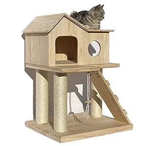 Gato Juega Torre del árbol, Gato de Madera casa del Gato Rascador ...