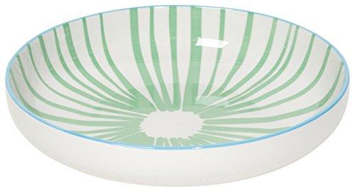 - Now Designs Stamped Shallow Porcelain Bowls, Set of Four, Jade Stripes