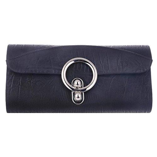 Black Formal Clasp Bag Evening Closure Circle Large Womens Texture Damara 7SYxqZzH7