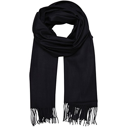 SOJOS Womens Large Soft Cashmere Feel Pashmina Shawls Wraps Winter Scarf SC304 with Black by SOJOS