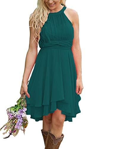 Teal Homecoming Dress (XingMeng Short A Line Halter Chiffon Prom Homecoming Bridesmaid Dresses Teal US 8)