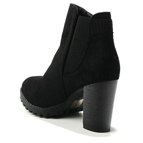 Schuhe Einfach Schlicht Basic Highheels Damen Gummizug Profilsohle HERIXO Stiefeletten Wildlederimitat Pumps Gummiband Black Absatz 5vpzvUq