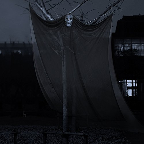Flying Ghost Prop (Halloween Props, Halloween Ghost Decorations Black Creepy Cloth Hanging Scary Ghost Prop Halloween Hanging Decorations Flying Ghost for Haunted Houses Party Doorways Outdoors Indoor Yard Bar)