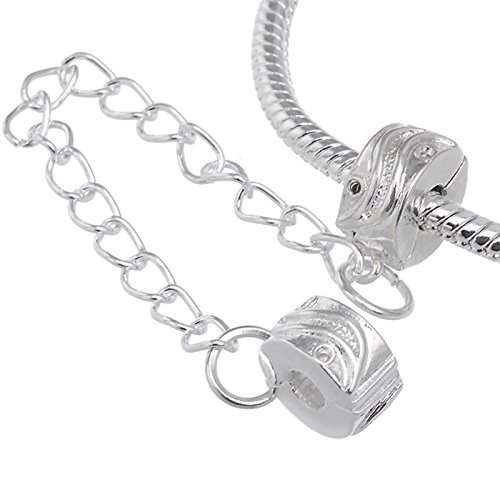 (RUBYCA 5pcs White Silver Plated Clip Lock Stopper Chain Clasp Beads fit European Charm Bracelet)
