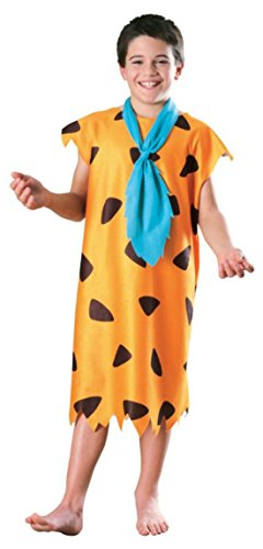 Boys Fred Flintstone Kids Child Fancy Dress Party Halloween Costume, L -