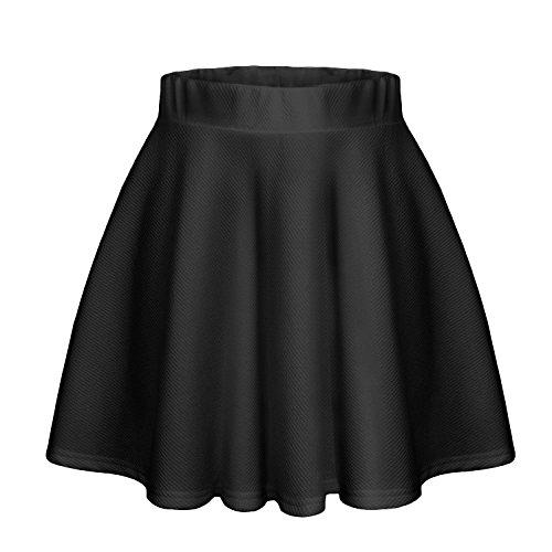 Patineuse Courte Noir Basique Noir Rtro Midi Evase Jupe Elastique Plisse Jupe Midi Court w1aOw