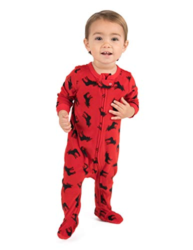 Leveret Fleece Baby Boys Girls Footed Pajamas Sleeper Christmas Pjs (Moose, 3 -