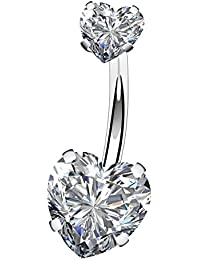 14G Surgical Steel Faceted Heart Cubic Zirconia Navel Rings