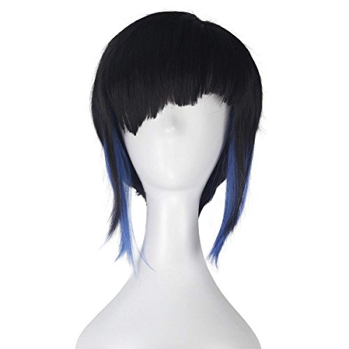 COSKING Kusanagi Motoko Cosplay Wig, Women Halloween Short Straight Black with Blue Costume Hairpiece (One -