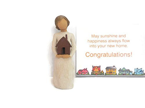 Willow Tree Mi Casa Figurine Bundle With Congratulations Note Card, Best Housewarming Home/House Gifts Ideas for New Home and New Homeowner Unique New Home Décor and New Home Gift Ideas